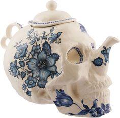 Trevor Jackson - Skull Teapot in Flowers #homewares