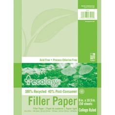 Ecology® Recycled Filler Paper Pack, College Ruled, PAC3204