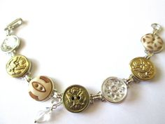 Antique ARMY button bracelet. Silver links. Show support for your soldier! ARMY mom, ARMY wife, ARMY sweetheart!