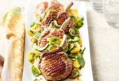 Succulent roasted pork with a spicy salad of pineapple, ginger and mint