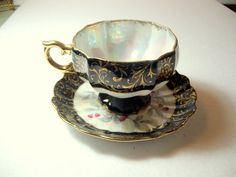 Gorgeous Grantcrest China Tea Cup Saucer Black by NostalgicHome, $24.00