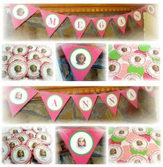 Birthday Party Idea & Decorations ~ Handmade American Girl Doll ~ Twins ~ Kit & Julie.  Handmade custom banner, cupcake toppers and name confetti.  Visit my blog http://missymadeit.blogspot.com  for more custom party ideas! Also visit my shop www.missymadeit.com for super cute handmade party decorations! My handmade items will add a festive touch to your birthday party, baby shower, wedding shower, wedding and any other celebration you may have!