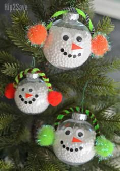 DIY Tutorial DIY Christmast Crafts / DIY Christmas Snowman Ornament Craft Made With Clear Glass Balls - Bead&Cord