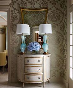 love. #wallpaper #mirror #lamps