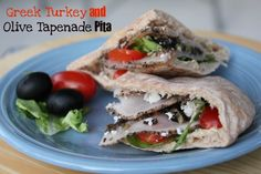 Greek turkey and olive tapenade pita #recipe Healthy Lunches, Happy Families Mommy Blogger Contest    #healthylunches