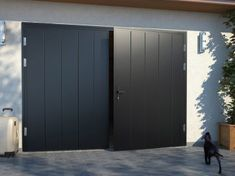 This particular white garage doors is surely an inspiring and awesome idea Side Hinged Garage Doors, Unique Garage Doors, White Garage Doors, Garage Door Hinges, Exterior Doors With Glass, Garage Door Makeover, Garage Door Design, Glass Front Door, Old French Doors