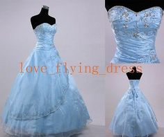 Light Blue Embroidery Prom Dress Quinceanera Dresses Party Formal Gowns size2 4   eBay