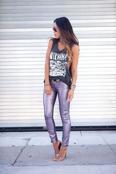 Graphic tank, belted metallic skinnies and nude/silver strappy heels with a Nirvana Shirt.