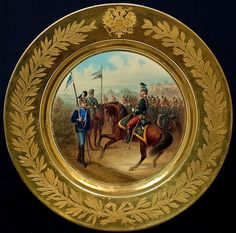 Antique ~ Russian Imperial Porcelain ~ Circa 1882 Military Plate from the reign of Tsar Alexander III of Russia