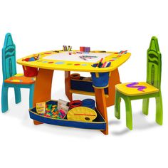 Support PBS KIDS while providing your little artists with the perfect place to create with this wooden table and chairs set from Crayola. This sturdy set features four roomy fabric compartments, two storage bins, and reversible chalkboard and dry erase board.