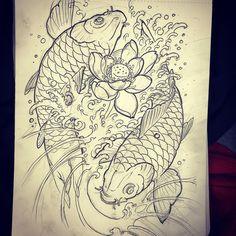 Koi and lotus for today! Japanese Koi Fish Tattoo, Koi Fish Drawing, Fish Drawings, Japanese Sleeve Tattoos, Koi Tattoo Design, Sketch Tattoo Design, Asian Tattoos, Fish Tattoos, Koy Fish Tattoo