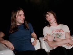 """lucy-pepper: """" David Gilmour and Roger Waters, a Summary : Part 2 """" Roger wearing his t-shirt for Pink Floyd's appearance at Japan's Hakone Festival, August 1971"""