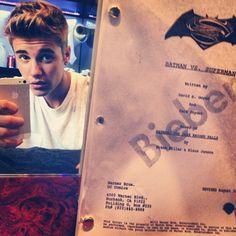 bieber script The Internet Isn't Reacting Well To This Photo Of Justin Bieber Holding The 'Batman Vs. Superman' Script