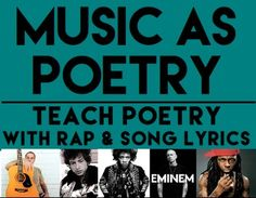MUSIC AS POETRY: Teach poetry with rap & song lyrics: This NO PREP packet is everything you need to teach poetry through music. Students learn about rhyme scheme, meter, poetic devices, literary elements and devices, making connections, poetry annotation and literary analysis - 4 songs and guide useable for ANY poem or song! Perfect for poetry unit, annotate poetry, literary analysis, rap as poetry, rap is poetry, poetic rap #teachpoetryhighschool #songactivitiesforkids