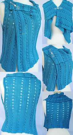 Ravelry: Coastal Breezes. Knit Vest Pattern with written instructions in DK weight yarn. This is a quick, versatile knit! Knit it in a cotton blend or a wool yarn to have the perfect vest for all seasons!