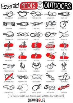 Knot-tying is one of the essential survival skills you need to know to prepare for the outdoors. In case of emergency, these knots might just come in handy! Make sure you know these Essential Knots for the Outdoors! #essentialknots #knots #survivalknots #survivalskills #prepperskills #survival #prepper #survivallife Survival Knots, Survival Blog, Survival Life Hacks, Survival Gear, Survival Skills, Camping And Hiking, Camping Ideas, Backpacking, Hand Signals