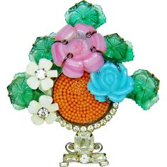 Vibrant and cheerful, #Vrba Flower Basket Brooch Art Glass Beads Rhinestones available from The Vintage Carousel on Ruby Lane