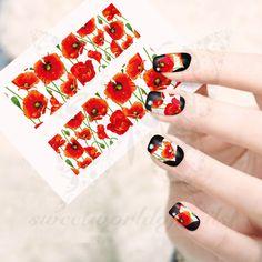 Poppy Flower Nail Water Decals Transfers Wraps
