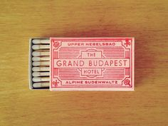 Hand-stamped about two hundred of these matchbooks for the annual return of Spoke Art's preeminent Wes Anderson art show, 'Bad Dads. Wes Anderson Style, Wes Anderson Movies, Wes Anderson Font, Grand Budapest Hotel, Branding, La Famille Tenenbaum, Hand Gestempelt, Typography Design, Lettering