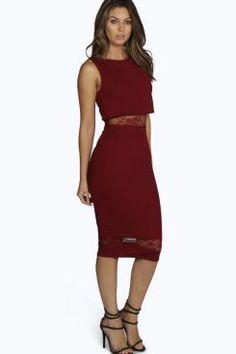 Meara Lace Insert Double Layer Midi Dress at boohoo.com