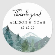 Rustic mountains outdoor theme forest woods favor classic round sticker Wedding Favor Tags, Wedding Invitations, Invites, Wedding Stickers, Fall Wedding, Wedding Ideas, Wedding Fun, Wedding Gifts, Wedding Supplies