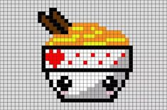 Noodles Pixel Art Noodles are a staple food in many cultures made from unleavened dough which is stretched, extruded, or rolled flat and cut into one of a variety of shapes. Mini Pixel Art, Pixel Art Food, Image Pixel Art, Anime Pixel Art, Kawaii Cross Stitch, Tiny Cross Stitch, Cross Stitch Patterns, Melty Bead Patterns, Perler Patterns