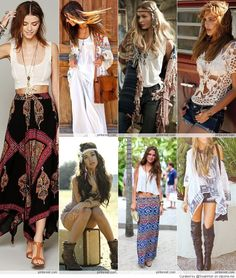 Bohemian Style: love the white dress w/ flower scarf.