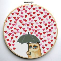 Grumpy Cat and Heart Funny Cross Stitch by CrossStitchForYou