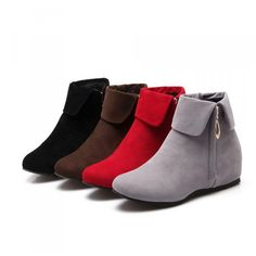 Womens Chic Hidden Mid Wedge Heel Zipper Flat ANkle Boots Solid Shoes Casual Hot - Shoes Womens Boots - Ideas of Shoes Womens Boots - Womens Chic Hidden Mid Wedge Heel Zipper Flat ANkle Boots Solid Shoes Casual Hot Price : Women's Shoes, Fall Shoes, Winter Shoes, Cute Shoes, Low Heel Ankle Boots, Wedge Boots, Heeled Boots, Wedge Heels, Low Boots