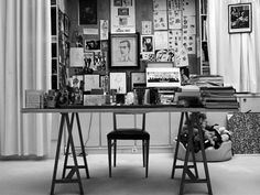 The late Yves Saint Laurent's trestle desk. Via Another Magazine