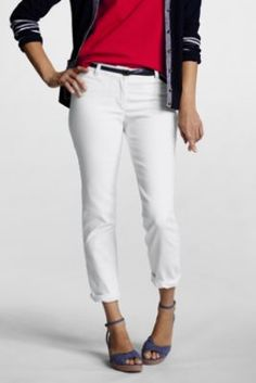 Women's Regular Fit 1 White Denim Ankle Pants from Lands' End, can I keep them clean for a day?