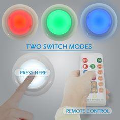 BWL Puck Lights With Remote Control, Brightness Adjustable LED Under  Cabinet Lighting, Multi Color