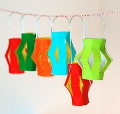 DIY Toilet paper tube Miniature Lantern Garland