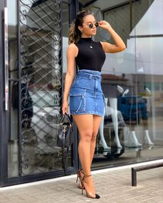 """Looks With Skirt Jeans """" 15 Ideas With Visuals! - Trendy Queen : Leading Magazine for Today's women, Explore daily Fashion, Beauty & Lifestyle Tips Midi Skirt Outfit, Skirt Outfits, Classy Outfits, Stylish Outfits, Girl Fashion, Fashion Dresses, Moda Fashion, Jeans Rock, Trendy Swimwear"""