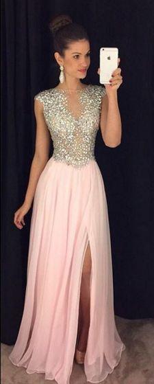 pink long prom dress, 2017 prom dress, prom dress with slit, formal evening dress