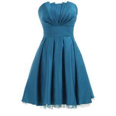 Landybridal Women's Flower Corset A-line Knee Length Satin Dress ($57) ❤ liked on Polyvore featuring dresses, short dresses, vestidos, blue, blue a line dress, blue knee length dress, blue dress, corset dress and knee-length dresses