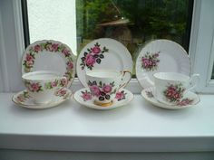 3 Pretty Mix & Match English China Trios Tea Cup Saucer Plate Pink Roses Set | eBay