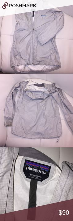 Patagonia Torrentshell Rain Jacket Size L Had a little bit of wear but no flaws other than being tiny bit dirty but I will definitely wash all the dirt off before I ship--just wanted to post. In pretty good condition and is a great Silver/light grey color! Please message me! more than willing to negotiate! thank you :)) Patagonia Jackets & Coats