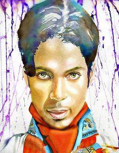 Prince, ART--watercolor portrait, Prince painting, print from original art, Purple Rain