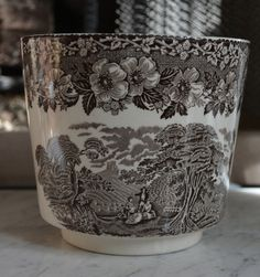 Brown Toile Transferware Flower Planter Cache Pot Pastoral Rest at Wheat Harvest Scene Vintage Wedgwood