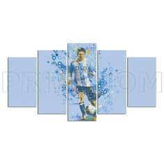 Lionel Messi Football Soccer Abstract Painting Canvas Print