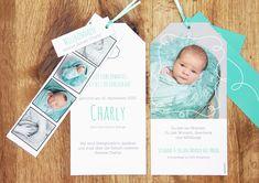 Geburtskarte «Charly» 💞 bei diesem besonderen Format haben Sie viel Platz für Fotos.