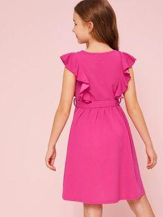 Tee Dress, Belted Dress, Gray Dress, Cute Young Girl, Butterfly Dress, Girls Dresses, Summer Dresses, Striped Tee, Ruffle Trim