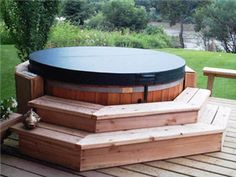 Classic 6 Person Red Cedar Hot Tub Transform your backyard into a retreat and relax in this classic 6 person wooden hot tub. This Cedar Hot Tub is one of a kind and the most beautiful hot tub experience you will ever find. Hot Tub Backyard, Hot Tub Garden, Backyard Pools, Pool Decks, Garden Pool, Jacuzzi Outdoor Hot Tubs, Whirlpool Deck, Hot Tub Surround, Round Hot Tub