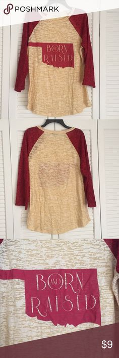 Cute 3/4 Sleeve Oklahoma Born & Raised Top Crimson & Cream top. 3/4 lace sleeves. Only worn once. Soft and comfortable! Perfect condition. Tops