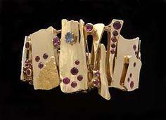 cuff bracelet by miye matsukata, rubies,sapphire,gold