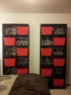 Ikea billy bookcases, damask black silver wallpaper custom back, red plastic storage bins... bedroom diy decor to die for!