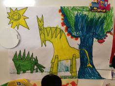 Dinosaurs and a tree, made by Bent, 5 years old • Art My Kid Made #colorful #markers #kidart