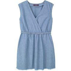 Violeta by Mango Light Denim Dress, Open Blue ($88) ❤ liked on Polyvore featuring dresses, denim dress, shift dress, short maxi dress, denim maxi dress and plus size midi dresses