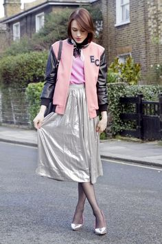 Cute varsity jacket and skirt